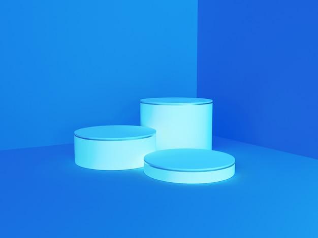 Podio di colore blu chiaro di forma astratta della geometria per il prodotto