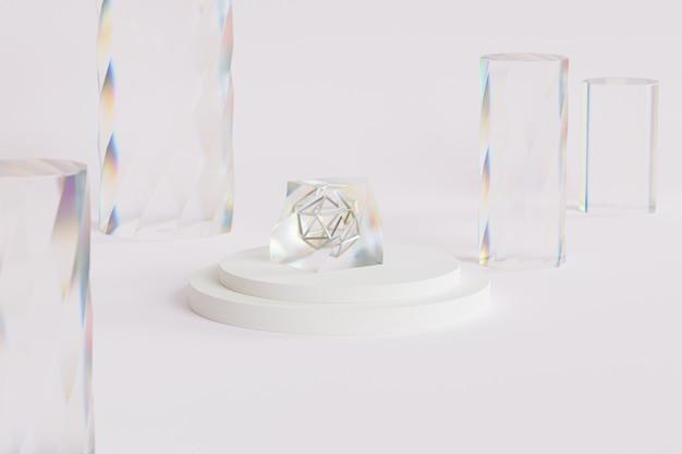Cristallo di vetro astratto con dispersione sul podio o piedistallo, sfondo beige, rendering minimo di illustrazione 3d