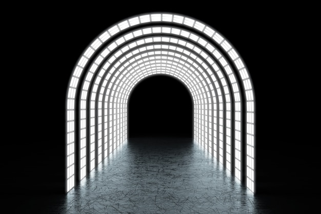 Abstract incandescente archway tunnel o portale estremo primo piano. rendering 3d