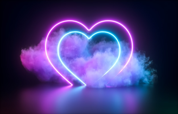 Forma di cuore al neon incandescente astratto e sfondo nuvola.