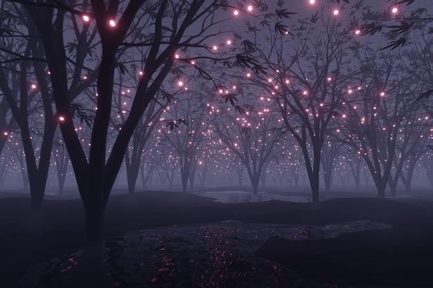 La particella d'ardore astratta brilla sulla rappresentazione della foresta 3d del paesaggio del pianeta alieno