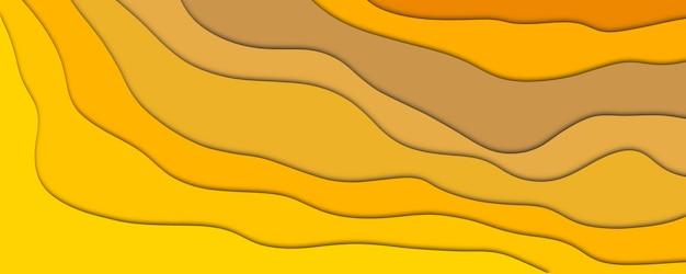 Fondo astratto del modello di effetto del taglio della carta delle onde di colore dell'oro