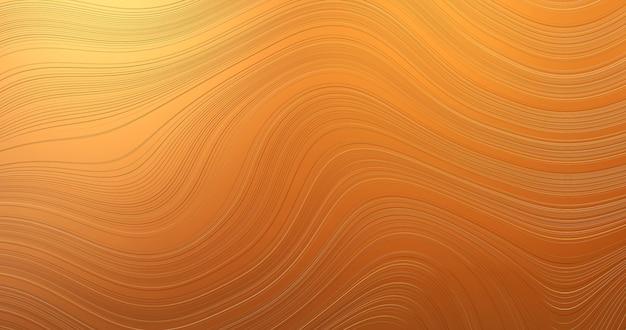 Disegno astratto di arte dell'onda di struttura del modello dell'oro su fondo di superficie creativo artistico dorato di lusso con sfondo di carta da parati vintage moda elegante rappresentazione 3d.