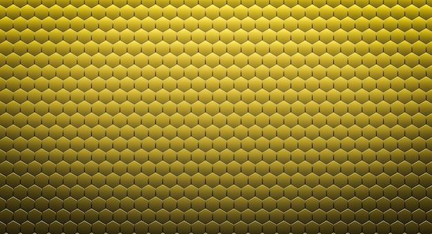 Fondo esagonale dorato astratto o struttura. rendering 3d