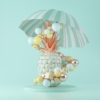 Ananas dorato astratto con ombrellone e oggetti di forme geometriche su sfondo blu. rendering 3d