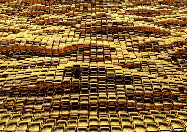 Struttura quadrata dorata astratta in stile techno