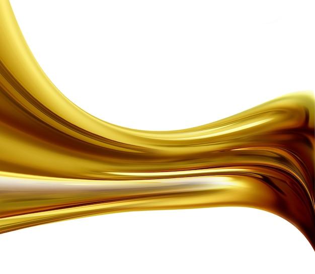 Onda dorata astratta su sfondo bianco