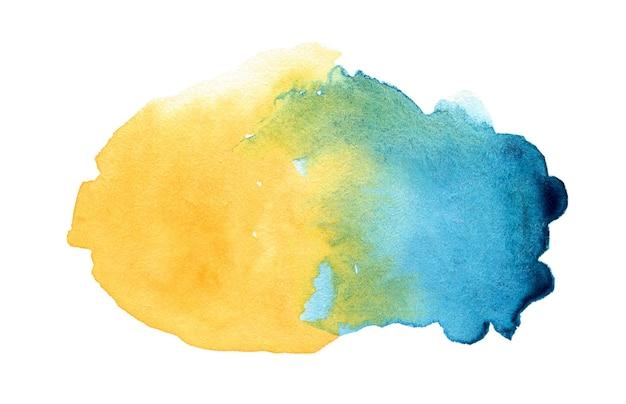 Spruzzata astratta dell'acquerello blu e giallo sfumato su sfondo bianco white