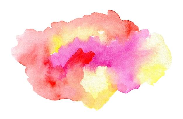 Spruzzi di acquerello rosa e giallo sfumati astratti su sfondo bianco