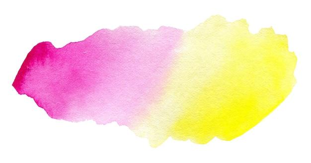 Spruzzata astratta dell'acquerello rosa e giallo sfumato su sfondo bianco