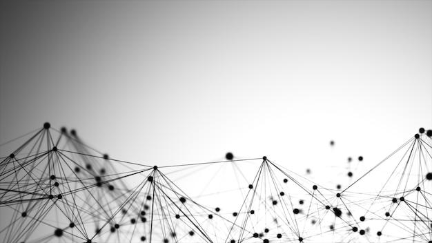 Grafica astratta composta da punti, linee e connessioni, tecnologia internet.