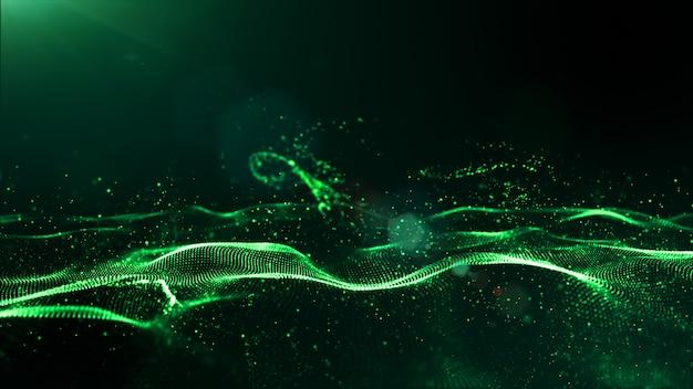 Le particelle digitali di colore verde astratto ondeggiano con polvere e fondo leggero