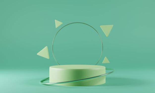 Modello astratto podio verde su sfondo verde