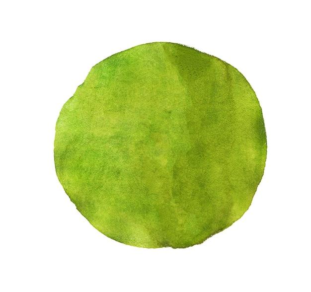 Acquerello verde astratto dipinto cerchio isolato su priorità bassa bianca