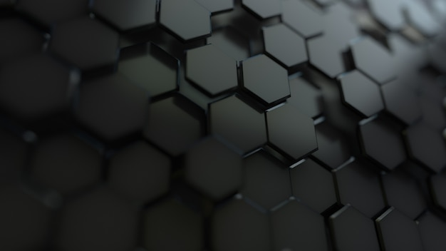 Fondo nero esagonale astratto