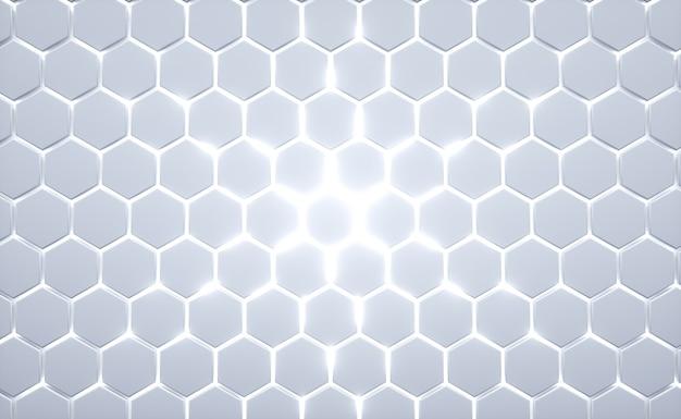 Struttura esagonale astratta con luce di energia brillante che attraversa le fessure