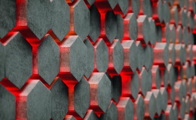 Struttura esagonale astratta con luce di energia brillante che attraversa le fessure Foto Premium