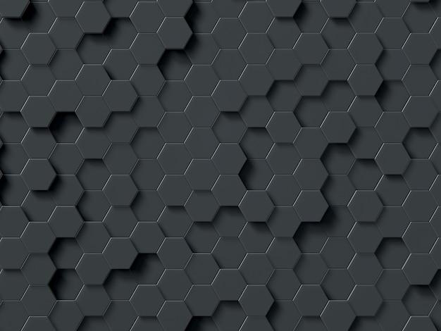 Esagoni astratti grigio 3d rendering poligoni geometrici