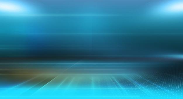 Effetti di luce del contesto vuoto del fondo astratto di alta tecnologia sull'illustrazione al suolo 3d
