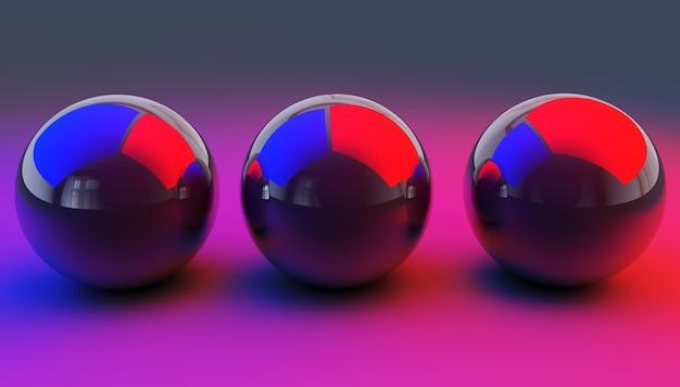 Illustrazione astratta di sfere lucide, rendering 3d