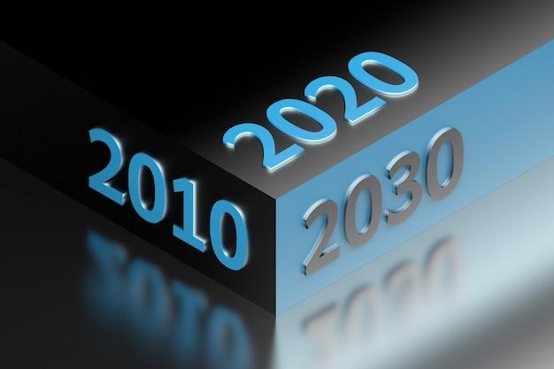 Illustrazione astratta con numeri dell'anno 2010 2020 2030 disposti su un grande cubo. illustrazione 3d.