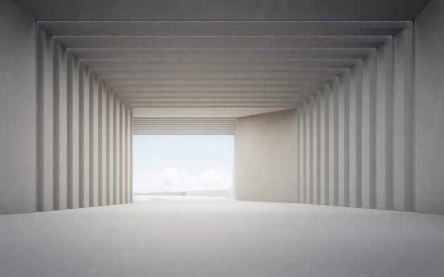 Rendering 3d di interior design astratto dello showroom moderno pavimento vuoto e sfondo del muro di cemento