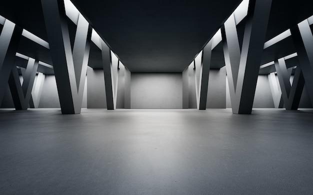 Rendering 3d di interior design astratto di uno showroom moderno con sfondo di corridoio in cemento
