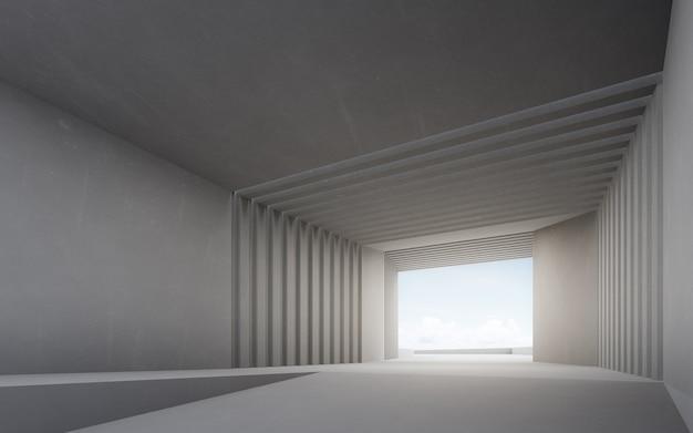 Rendering 3d di interior design astratto di uno showroom moderno