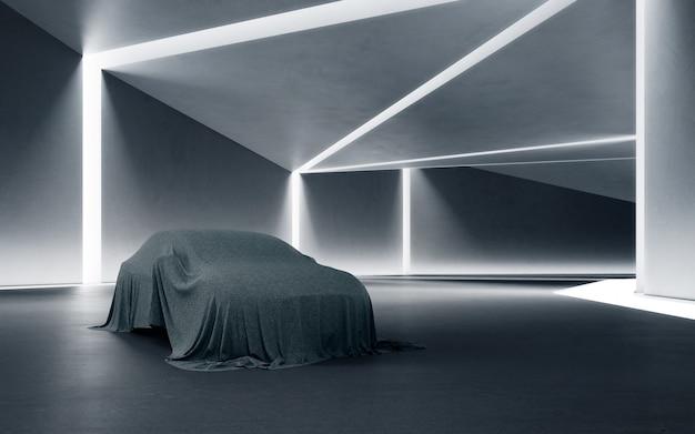 Rendering 3d di interior design astratto di una nuova auto coperta con un panno sul pavimento di cemento