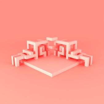 Disposizione isometrica astratta di un'illustrazione 3d del cubo in espansione