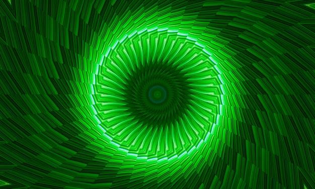 Fondo astratto del caleidoscopio dai cerchi in tonalità verdi luminose. immagine di arte digitale in stile meditativo psichedelico. elegante texture espressiva con effetto tessile. concetto decorativo ed ecologico.