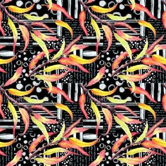 Foglie astratte su sfondo nero con strisce, testo. modello senza cuciture con linee artistiche di inchiostro, punti, cerchi, note scritte a mano, acquerello