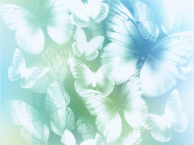 Astratto sfondo azzurro e verde con farfalle bianche