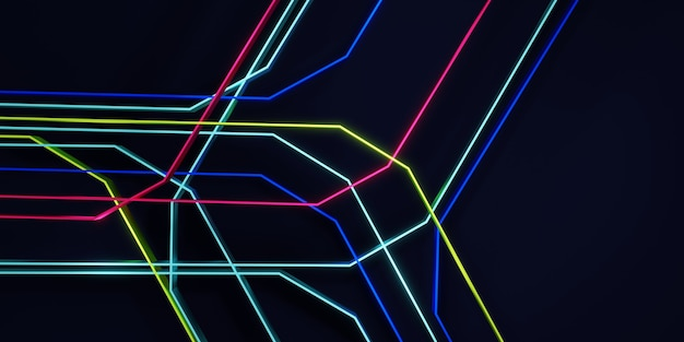 Illustrazione 3d di concetto di scena di tecnologia di sfondo di linee luminose e colorate astratte