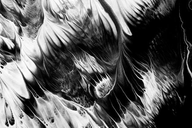 I colori bianchi neri liquidi astratti dipingono il fondo delle macchie. arte luida esoterica, occultismo magico, struttura acrilica