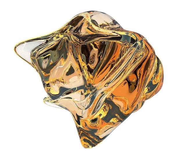 Astratto liquido dinamico oggetto gelatinoso coagulo giallo ambra illustrazione di acqua nel vuoto