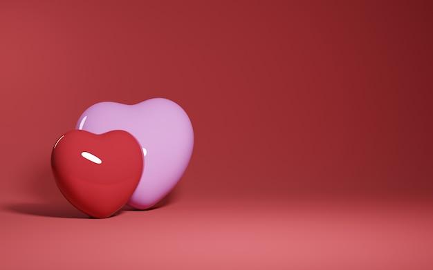 Concetto di design di san valentino astratto sfondo amore - rendering 3d