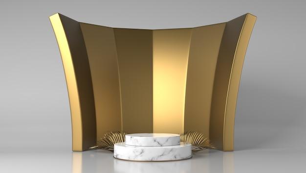 Podio della vetrina di posizionamento del prodotto in marmo bianco e oro di lusso astratto con foglie d'oro