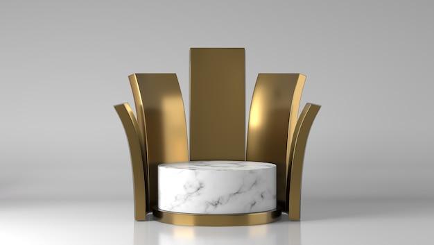 Podio della vetrina di posizionamento del prodotto in marmo bianco e oro di lusso astratto