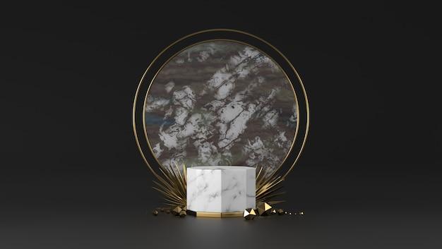 Podio di marmo bianco e nero di lusso astratto e foglia dorata nel fondo nero.