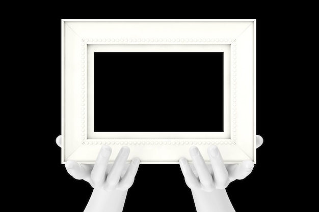 Manichini astratti che tengono la cornice per foto in legno classica con spazio libero per il tuo design su sfondo nero. rendering 3d