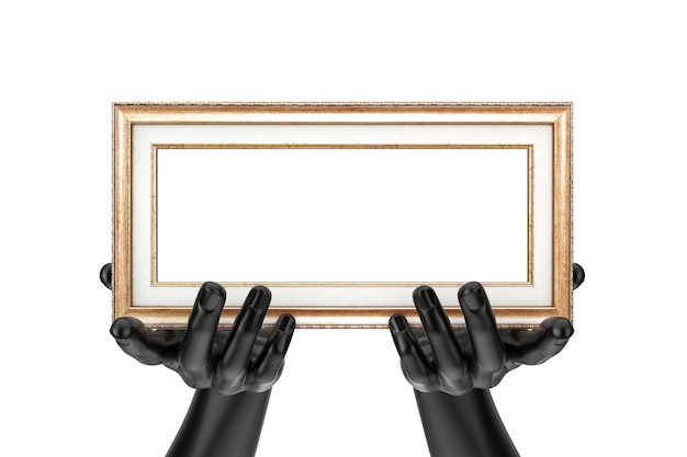 Manichino astratto mani che tengono la cornice per foto in legno classica con spazio libero per il tuo design su sfondo bianco. rendering 3d