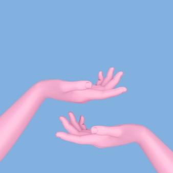 Manichino astratto mano rosa aperta in stile bicolore su sfondo blu. rendering 3d