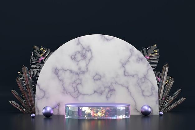 Podio astratto del contesto di marmo per la rappresentazione del fondo della vetrina 3d dell'esposizione del prodotto