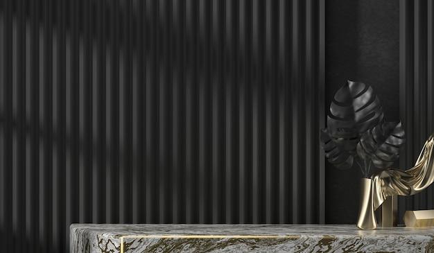 Scrivania in marmo astratto e piante per la visualizzazione del prodotto con sfondo nero della tenda