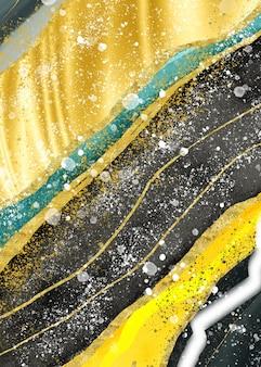 Geode di marmo astratto dell'acquerello che dipinge il turchese dorato nero e grigio e fondo dorato