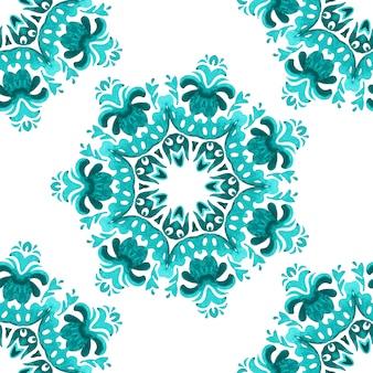 Abstract medaglione stella mano disegnato piastrelle ornamentali senza giunture pittura ad acquerello pattern.
