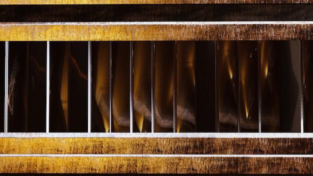 Fondo metallico astratto del gambo con il bordo di legno