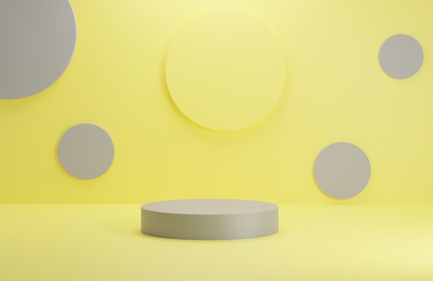 Scena minimale astratta con forme geometriche palcoscenico a podio cilindrico in sfondo giallo e grigio