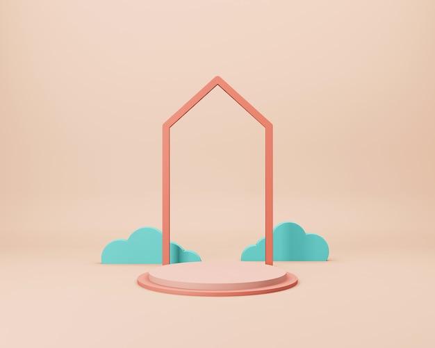 Scena minimale astratta con forme geometriche